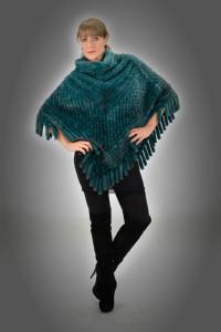 Poncho tricot visone verde