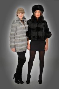 Giacca volpe/rex grigio e giacchino persiano/visone + volpe