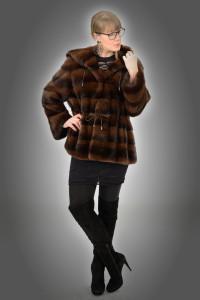 Giacca con cappuccio visone brown dorsato